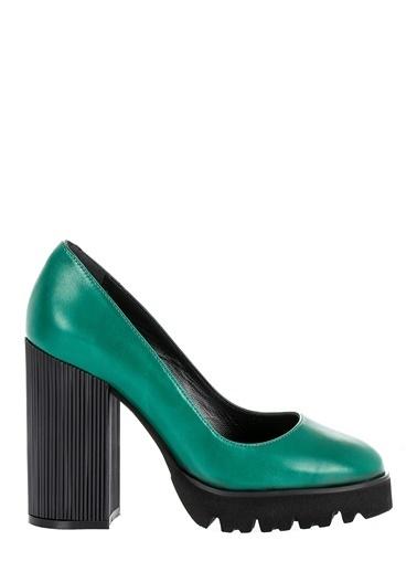 Pier Lucci Deri Topuklu Ayakkabı Yeşil